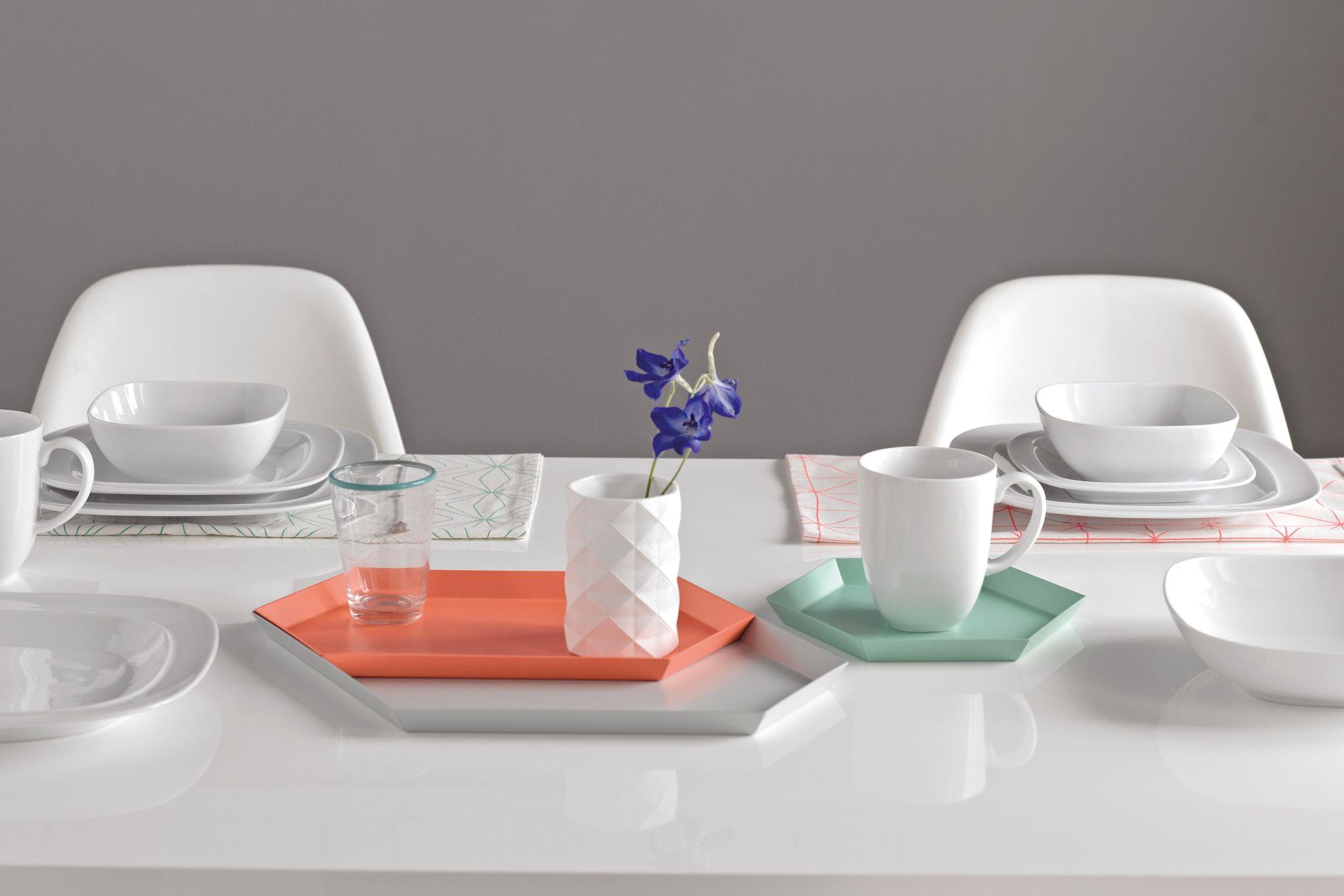 """Denby White Squares Dinner Plate 11 1/2"""" thumb 2"""
