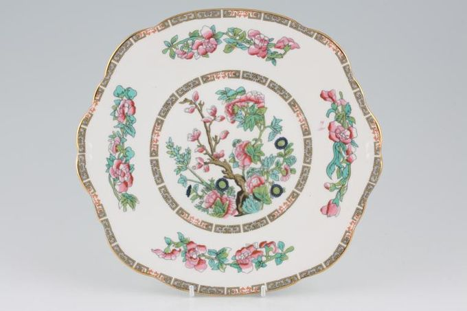 "Duchess Indian Tree Cake Plate squarish edge, eared 9 1/4"""