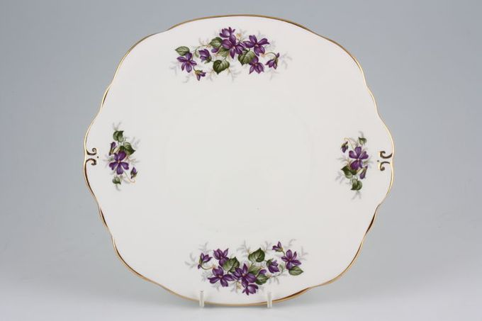 """Duchess Violets Cake Plate Eared, Square 9 1/4"""""""
