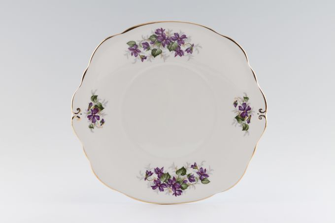 """Duchess Violets Cake Plate Eared, Round 9 1/4"""""""