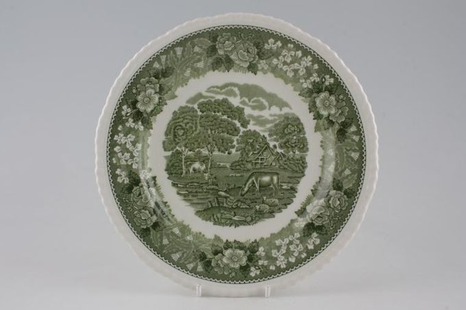 Adams English Scenic - Green Breakfast / Salad / Luncheon Plate Deep 8 7/8""