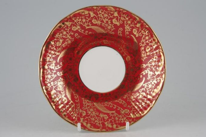 """Elizabethan Sovereign - Red Tea Saucer With gold line around well 5 3/4"""""""