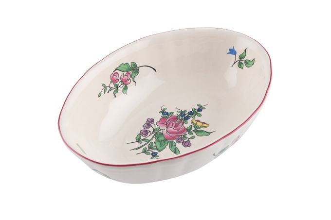 Luneville Reverbere Fin Oval Serving Bowl Rose 5 1/2 x 2 3/8 x 7 3/4""