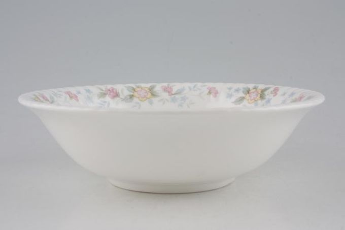 Hammersley Fluted - Pink + Yellow Flowers Oatmeal / Cereal / Soup 6 5/8""