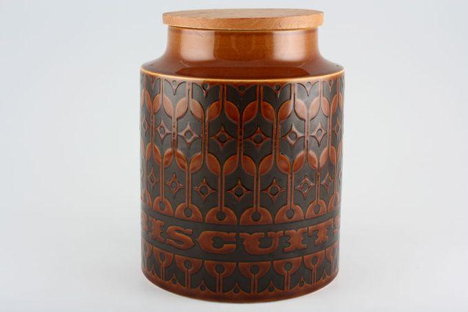 "Hornsea Heirloom - Brown Storage Jar + Lid Size represents height. Biscuit 8"""