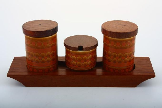 Hornsea Saffron Cruet Set Salt - Pepper - Mustard on Tray