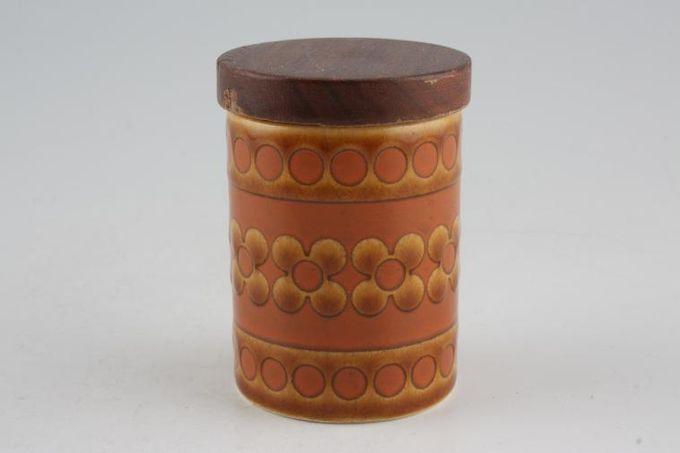 "Hornsea Saffron Spice Jar Wooden lid 2 1/4"""