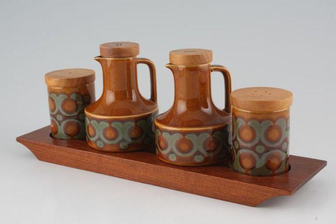 Hornsea Bronte Cruet Set Salt, Pepper, Oil, Vinegar on Wooden Tray