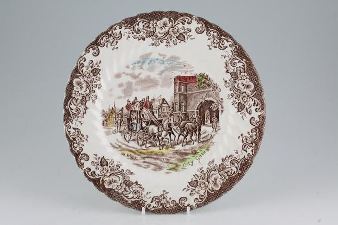 Johnson Brothers Coaching Scenes - Brown Dinner Plate City Gate 9 3/4""