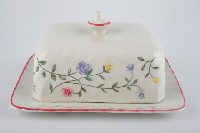 Johnson Brothers Summer Chintz Butter Dish + Lid 6 3/4 x 5 1/2""
