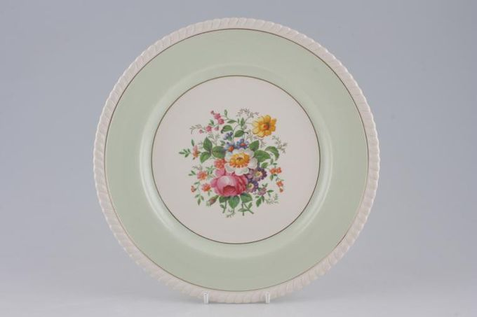 """Johnson Brothers Old English - Green, Gold Band, Centre Flowers Dinner Plate 10"""""""