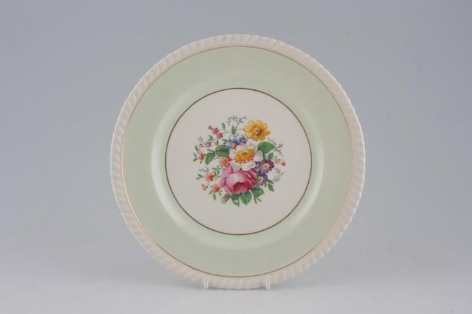 """Johnson Brothers Old English - Green, Gold Band, Centre Flowers Breakfast / Salad / Luncheon Plate 8 7/8"""""""