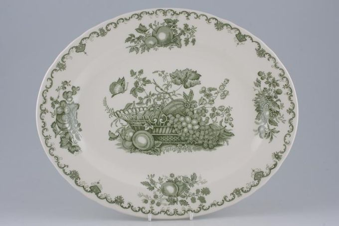 "Johnson Brothers Fruit Basket - Green Oval Plate / Platter 13 3/4"""
