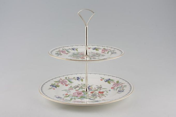 """Aynsley Pembroke 2 Tier Cake Stand 10 5/8"""", and 8 1/4""""plates"""