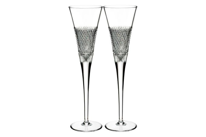 Waterford Diamond Line Pair of Flutes