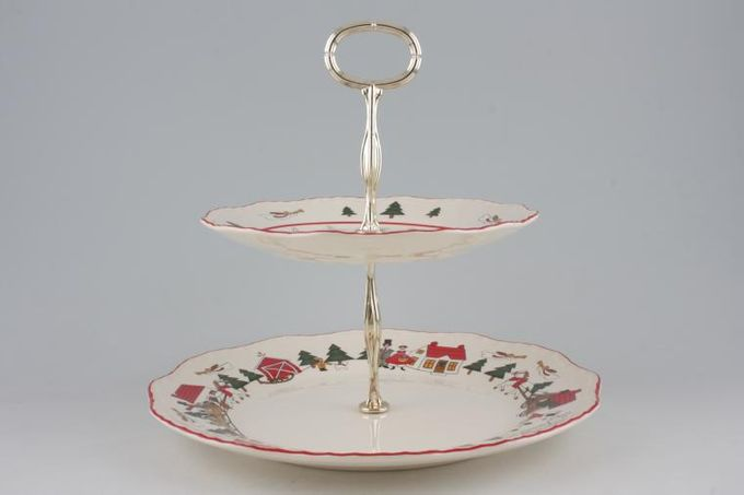 "Masons Christmas Village 2 Tier Cake Stand 10 1/2"" and 7 3/4"" plates"