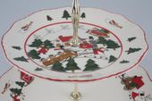 "Masons Christmas Village 2 Tier Cake Stand 10 1/2"" and 7 3/4"" plates thumb 2"
