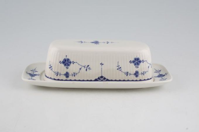 """Masons Denmark - Blue Butter Dish + Lid Oblong 8 1/4 x 3 3/4"""""""