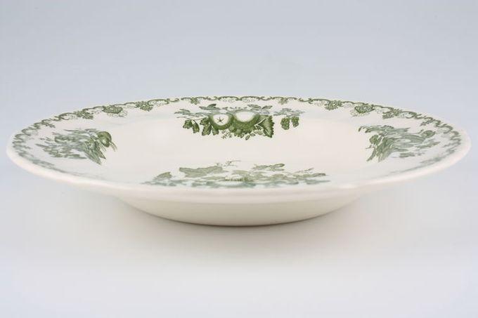 "Masons Fruit Basket - Green Rimmed Bowl 8 3/4"""