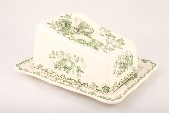Masons Fruit Basket - Green Cheese Dish + Lid 9 1/4""