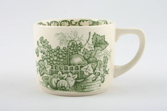 Masons Fruit Basket - Green Teacup Straight Sided Tea / Coffee cups 3 x 2 1/2""