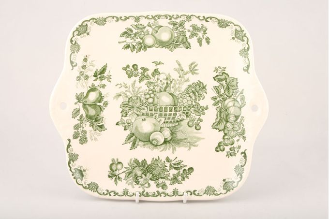 Masons Fruit Basket - Green Cake Plate Square 10 1/2""