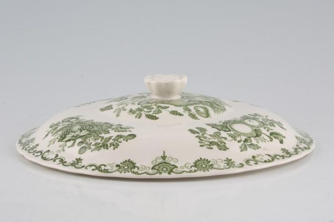 Masons Fruit Basket - Green Vegetable Tureen Lid Only Low - for squat tureen