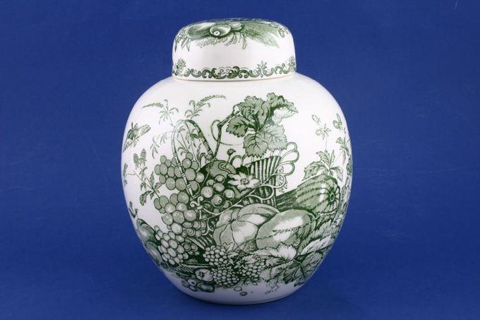 """Masons Fruit Basket - Green Ginger Jar 9"""""""
