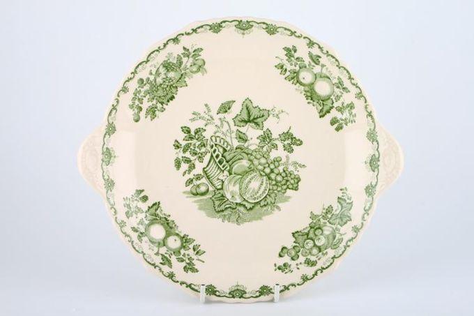 "Masons Fruit Basket - Green Cake Plate Round / Eared 10"""