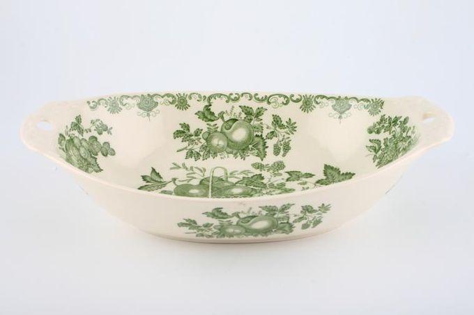 "Masons Fruit Basket - Green Serving Dish Eared - Oval 10 1/4"""