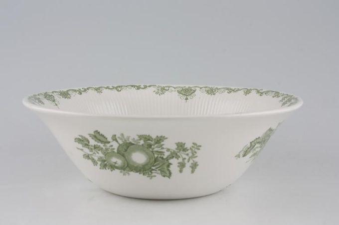 "Masons Fruit Basket - Green Serving Bowl Plain Edge 8 3/4"""