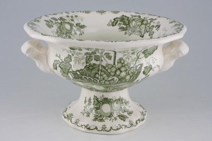 """Masons Fruit Basket - Green Gift Bowl Peking Bowl Footed 9 1/2 x 5 3/4"""""""