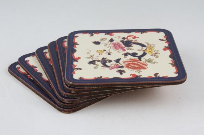 Masons Mandalay - Blue Coaster Square - Box of 6 Cork Backed 4""