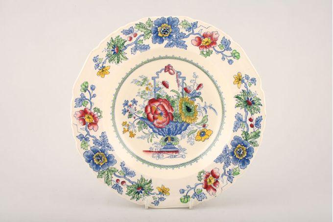 "Masons Strathmore - Pink + Blue Rimmed Bowl Rimmed soup plates 10"""