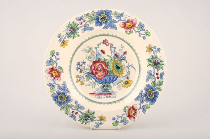 """Masons Strathmore - Pink + Blue Rimmed Bowl Rimmed soup/dessert bowls 9"""""""