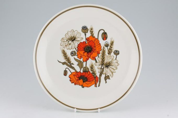 """Meakin Poppy - Ridged and Rounded Bases Dinner Plate Side measures 1 3/4"""" Rounded 10"""""""