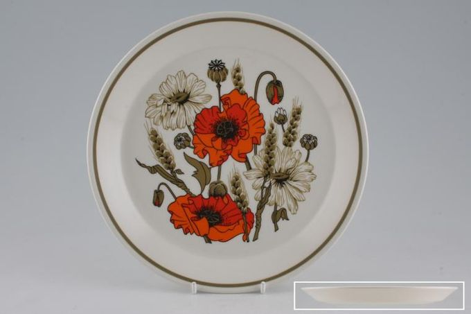 "Meakin Poppy - Ridged and Rounded Bases Breakfast / Lunch Plate Underside ridge measures 6 3/8"" Ridged 8 3/4"""