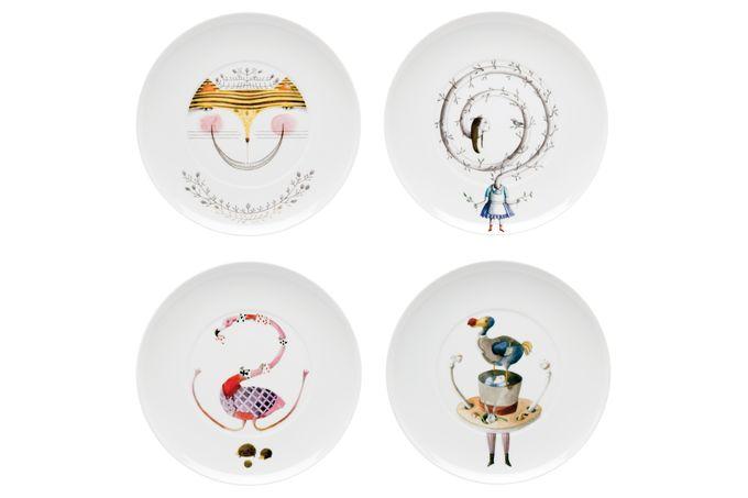 Vista Alegre Tea with Alice Dessert / Salad Plate - Set of 4 Gift Boxed
