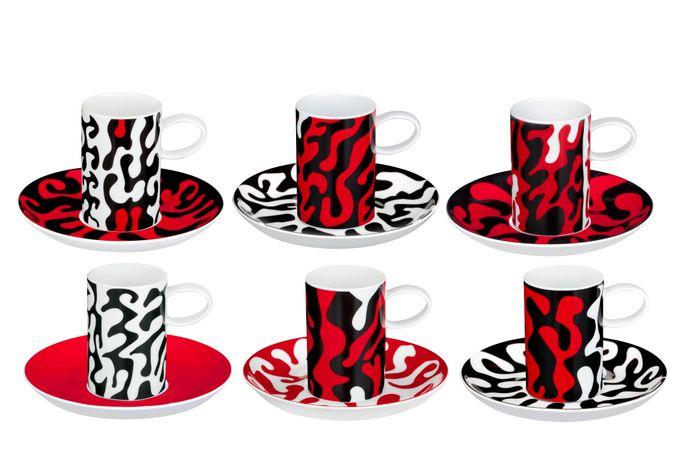 """Vista Alegre Fauno e Flora Coffee Cans & Saucers - Set of 6 Espresso Cups 2 x 2 7/8"""""""