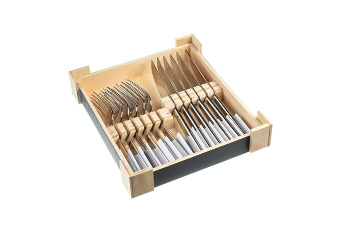 Charingworth Mimosa 12 Piece Steak Knife and Fork Set Wooden Box