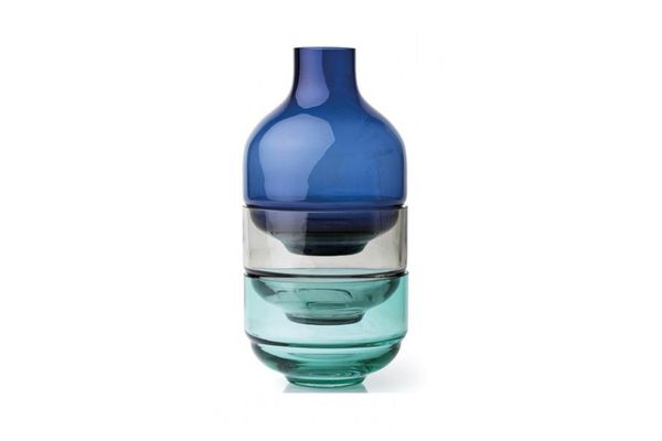 Leonardo Fusion Stacking Vase and Bowl Set 3 Piece Blue Small