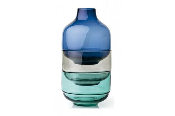 Leonardo Fusion Stacking Vase and Bowl Set 3 Piece Blue 21 x 36cm