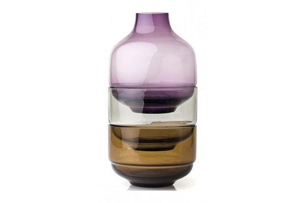 Leonardo Fusion Stacking Vase and Bowl Set 3 Piece Purple 21 x 36cm