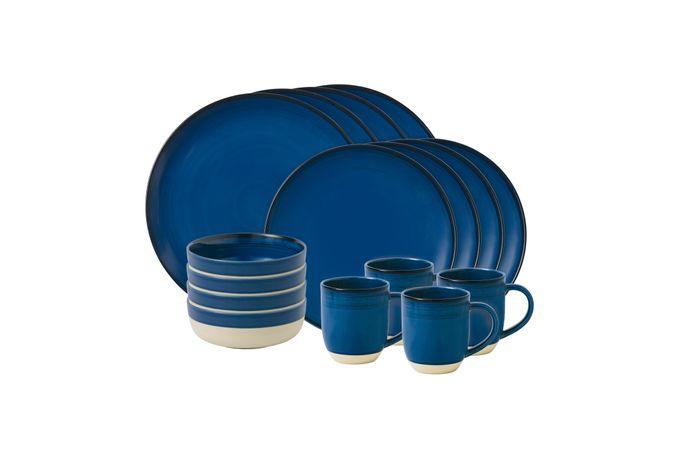 Ellen DeGeneres for Royal Doulton Brushed Glaze Sets 16 Piece Set Dark Blue