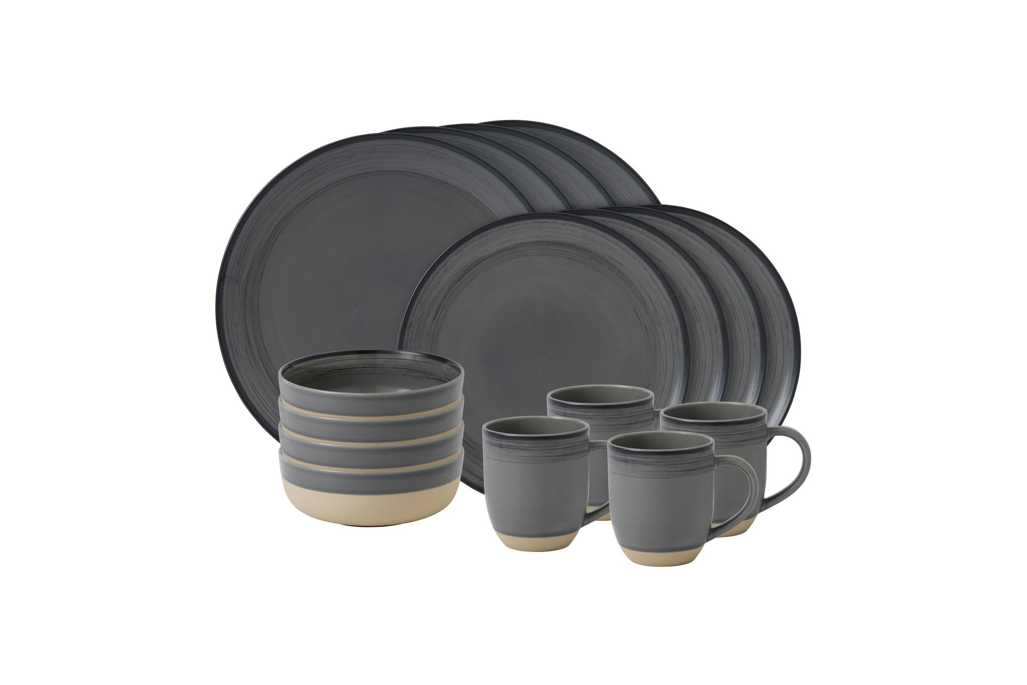 Ellen DeGeneres for Royal Doulton Brushed Glaze Sets 16 Piece Set Grey thumb 1
