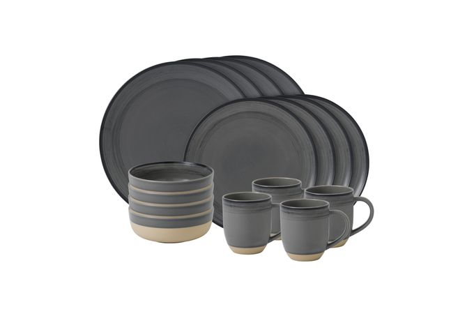 Ellen DeGeneres for Royal Doulton Brushed Glaze Sets 16 Piece Set Grey