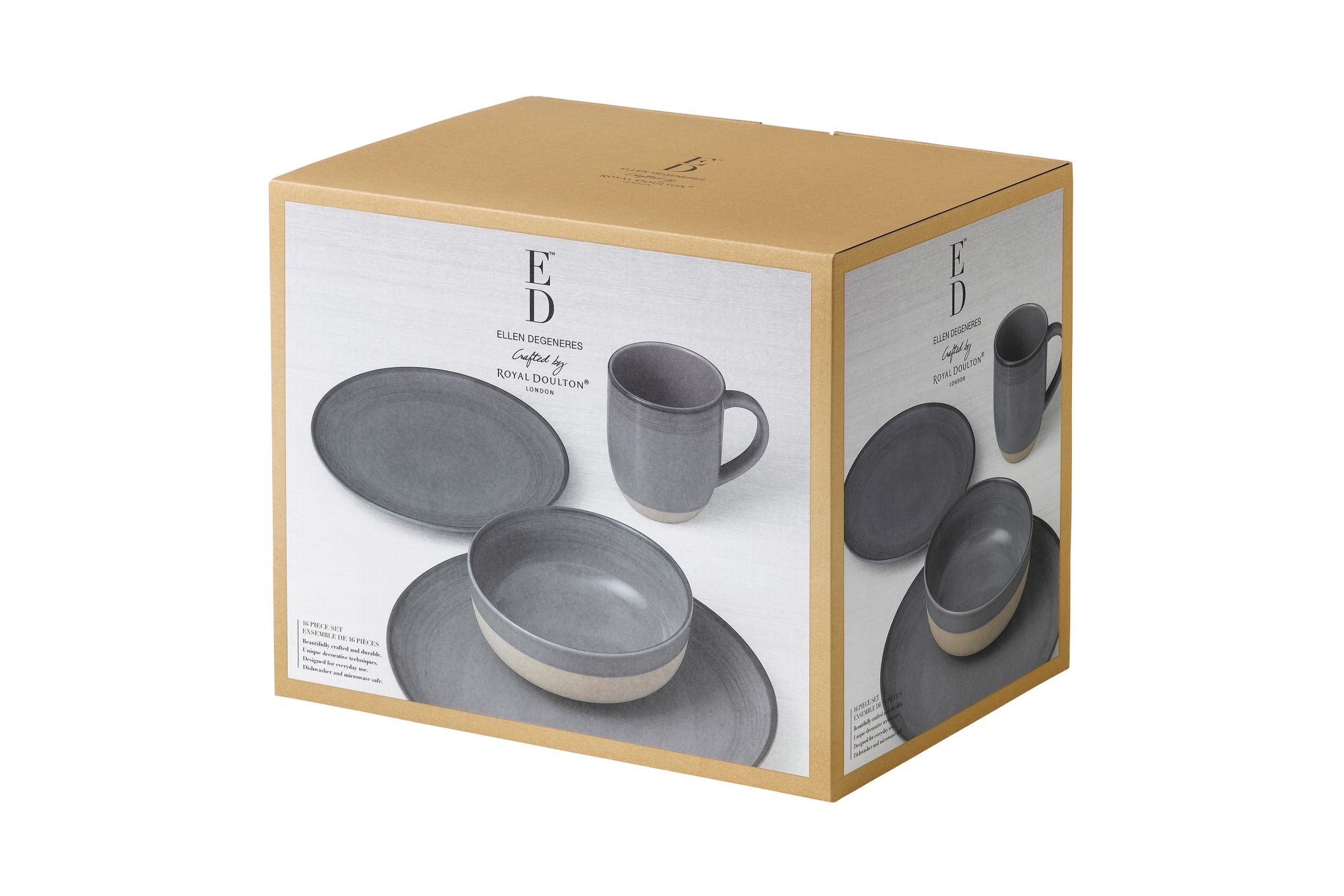 Ellen DeGeneres for Royal Doulton Brushed Glaze Sets 16 Piece Set Grey thumb 2