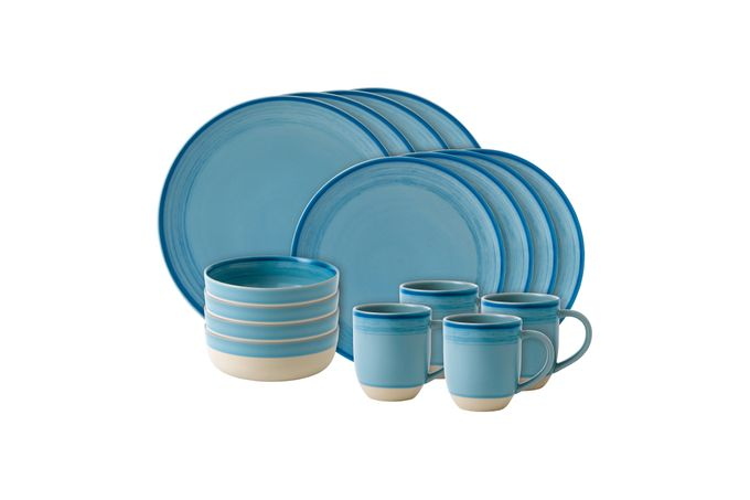 Ellen DeGeneres for Royal Doulton Brushed Glaze Sets 16 Piece Set Polar Blue