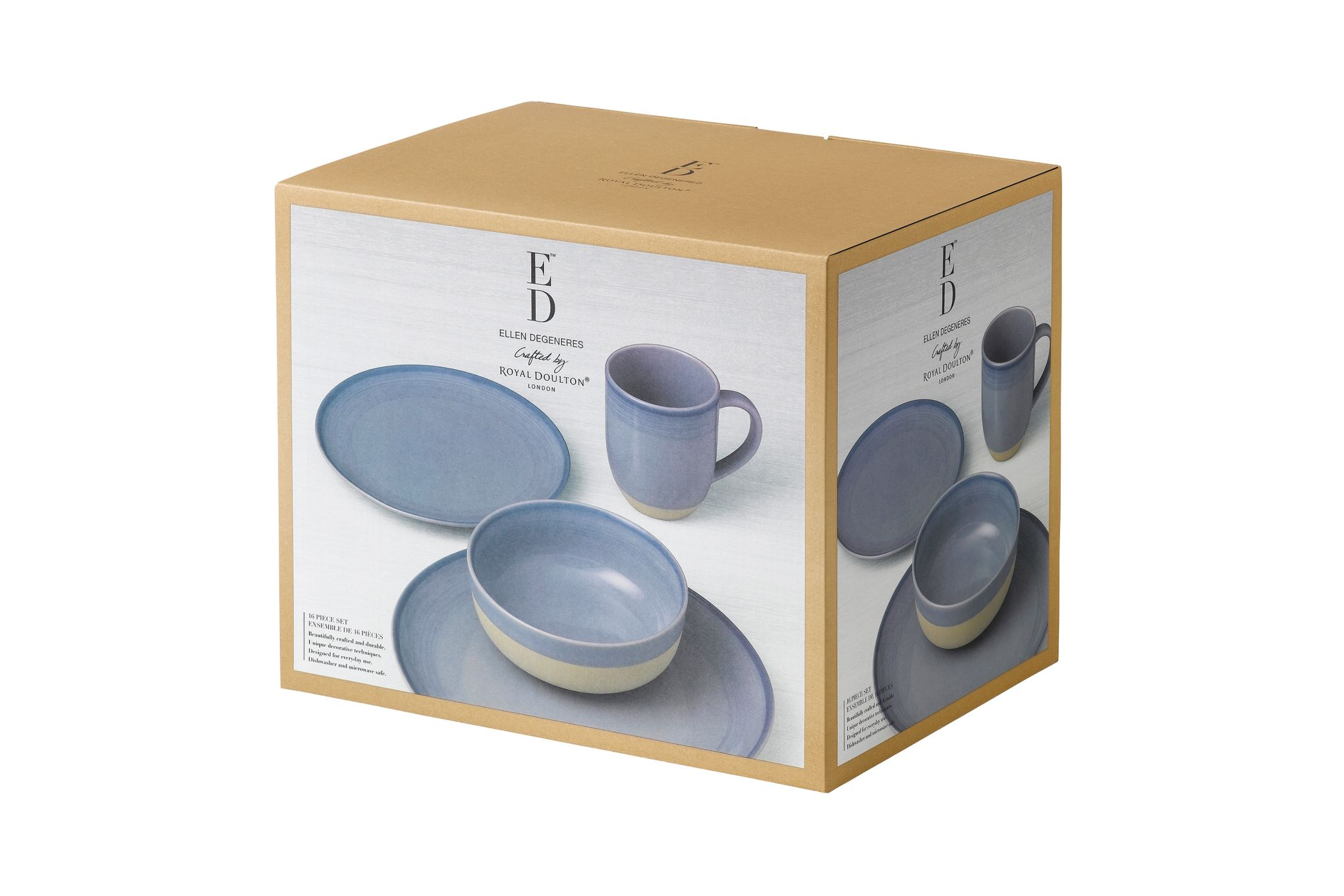 Ellen DeGeneres for Royal Doulton Brushed Glaze Sets 16 Piece Set Polar Blue thumb 2