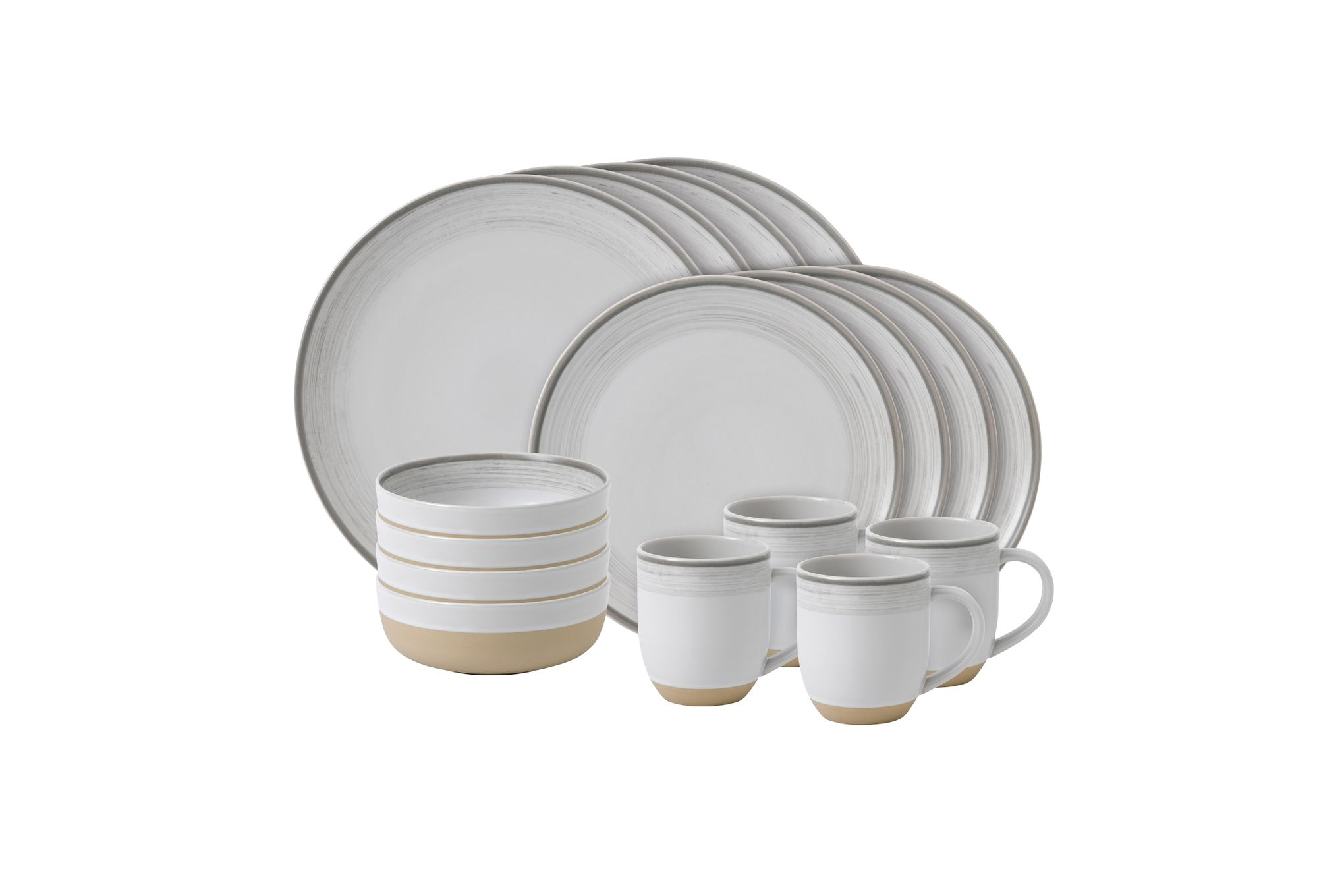 Ellen DeGeneres for Royal Doulton Brushed Glaze Sets 16 Piece Set White thumb 1